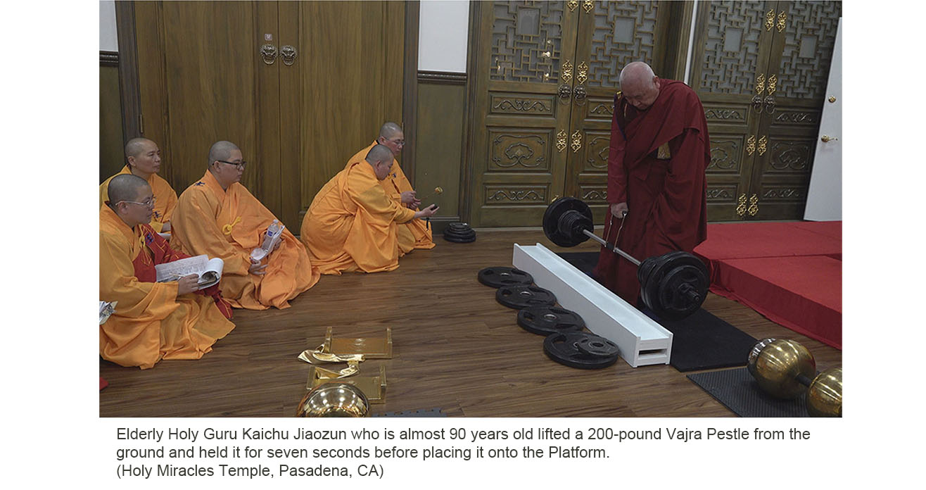 USA Today: Holy Guru Kaichu Jiaozun lifted a 200-pound Vajra Pestle
