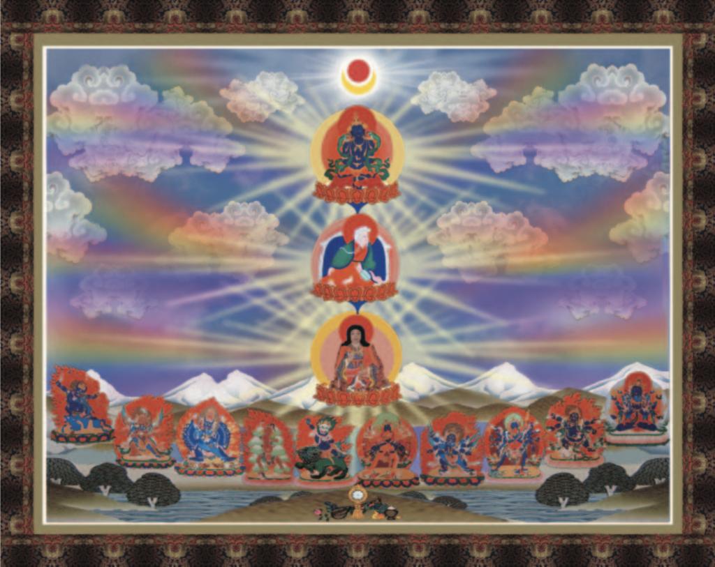 DORJE CHANG BUDDHA LINEAGE REFUGE TREE,primordial Buddhas,Dharmakaya,Sambhogakaya, Dorje Chang Buddha, Nirmanakaya Vajrasattva,多杰羌佛降世皈依境, 法身佛普賢王如來, 阿達爾瑪佛, 報身佛多杰羌佛, 金剛總持, 持金剛, 化身金剛薩埵