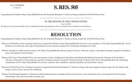 U.S. Congress, H.RES.550, His Holiness Dorje Chang Buddha III, Honorable Ben Gilman, 2010 World Peace Prize, HH Dorje Chang Buddha III, Wan Ko Yee, Yi Yungao
