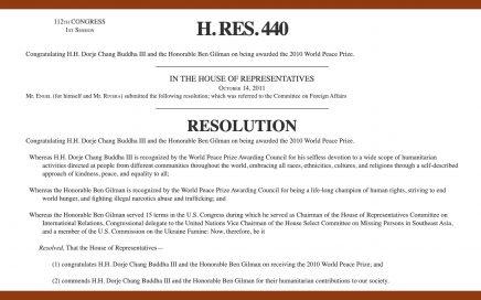 U.S. Congress, H.RES.440, H.H. Dorje Chang Buddha III, Ben Gilman, World Peace Prize, His Holiness Dorje Chang Buddha III, Wan Ko Yee, Yi Yungao