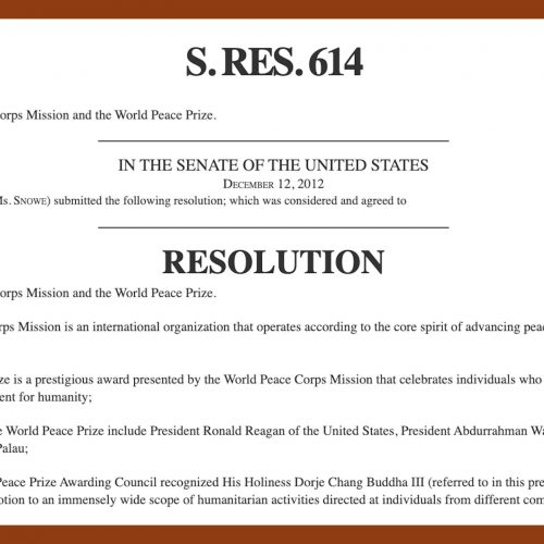 US Congress H.RES.614, World Peace Corps Mission, World Peace Prize, HH Dorje Chang Buddha III, His Holiness Dorje Chang Buddha III, Wan Ko Yee, Yi Yungao