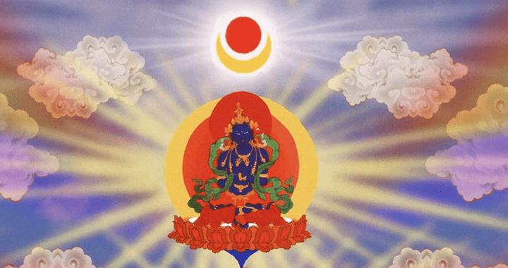 DORJE CHANG BUDDHA LINEAGE REFUGE TREE, Buddha Vajradhara, primordial Buddhas, Dharmakaya, Sambhogakaya, Dorje Chang Buddha, Nirmanakaya Vajrasattva, 多杰羌佛降世皈依境, 法身佛普賢王如來, 阿達爾瑪佛, 報身佛多杰羌佛, 金剛總持, 持金剛, 化身金剛薩埵