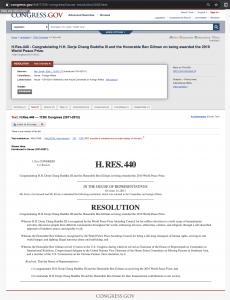 H.RES.440, H.H. Dorje Chang Buddha III, Ben Gilman, World Peace Prize, His Holiness Dorje Chang Buddha III, Wan Ko Yee, Yi Yungao